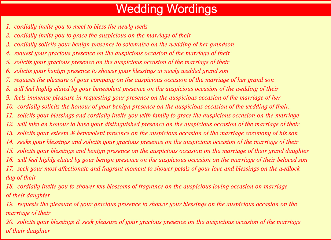 Indian personal wedding invitation wordings for friends ...